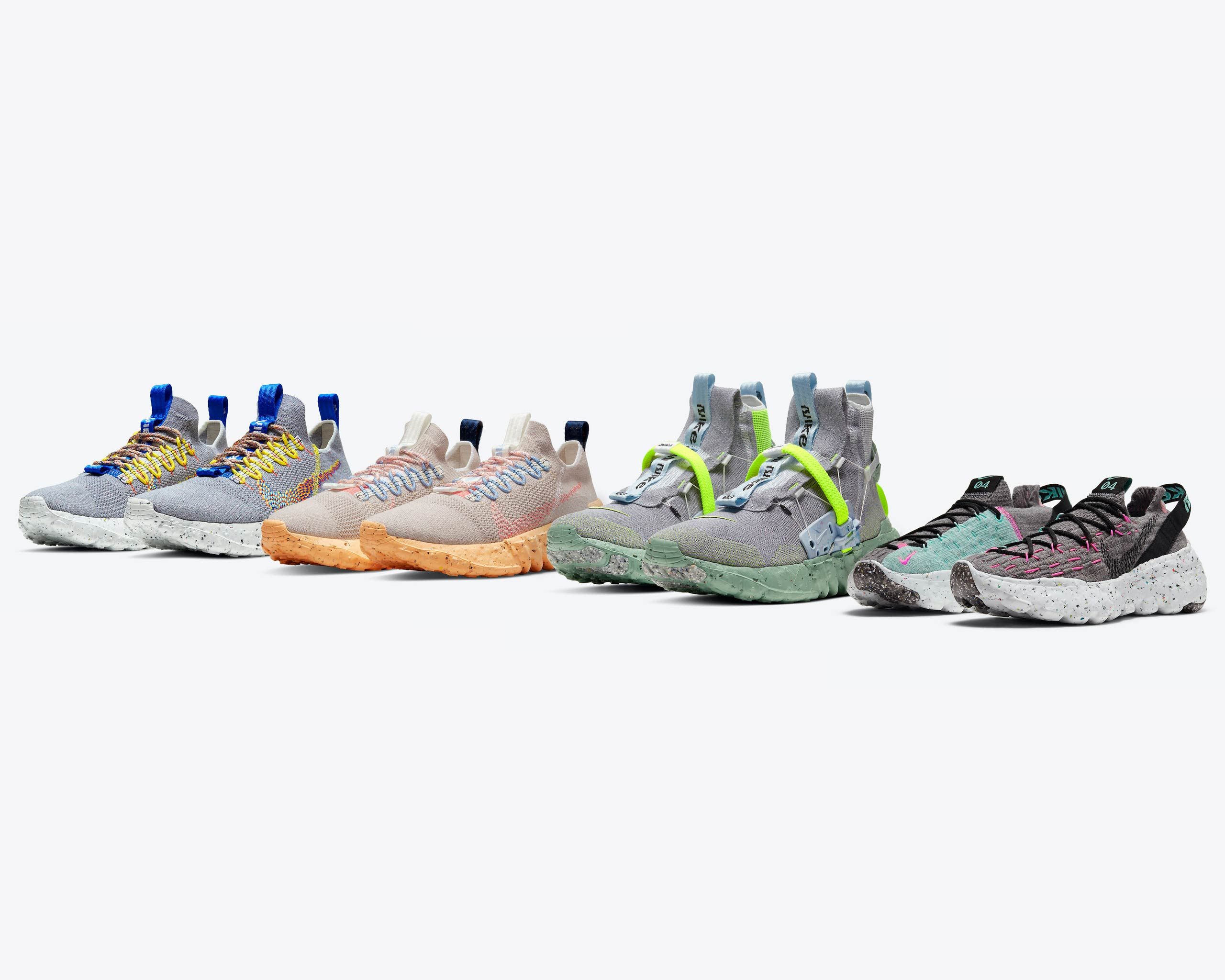 Nike Space Hippie - the vegan, recycled sneaker made with floor scraps, in new colorways - Antagonist